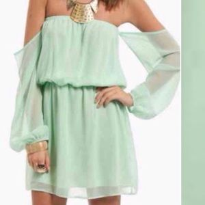 Tobi Mint Green Off Shoulder strapless Dress Small